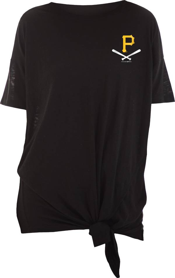 New Era Women's Pittsburgh Pirates Black Slub Side Tie T-Shirt product image