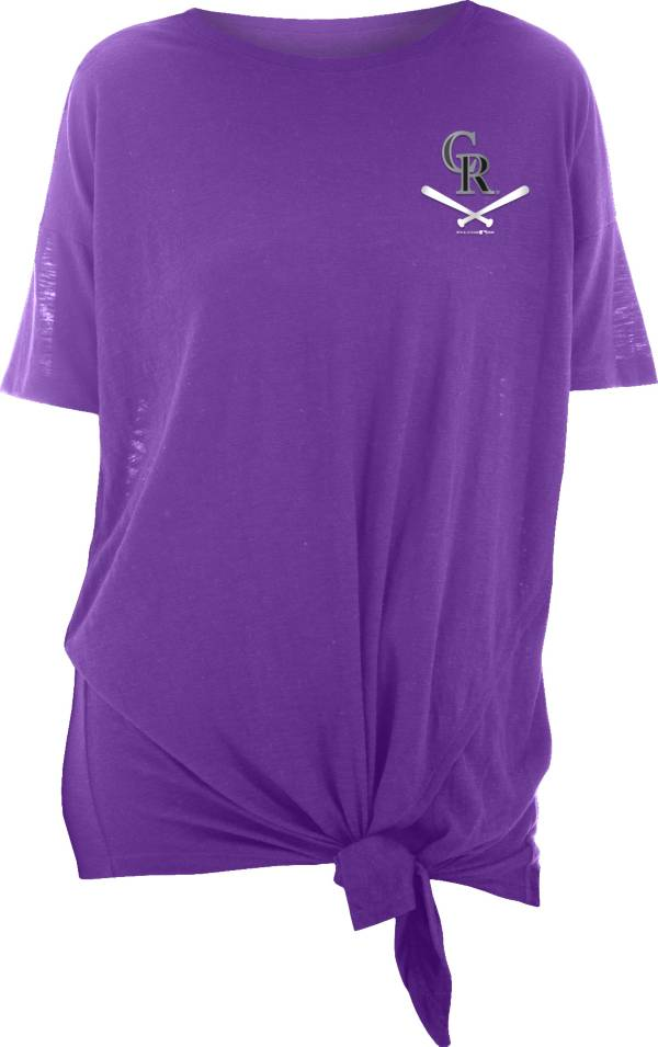 New Era Women's Colorado Rockies Purple Slub Side Tie T-Shirt product image