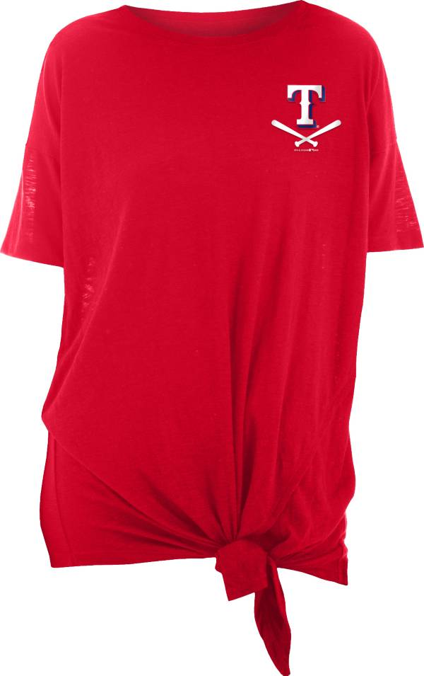 New Era Women's Texas Rangers Red Slub Side Tie T-Shirt product image