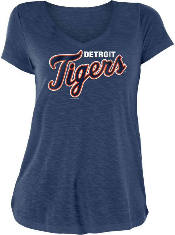 New Era Women's Detroit Tigers Navy Slub V-Neck T-Shirt product image