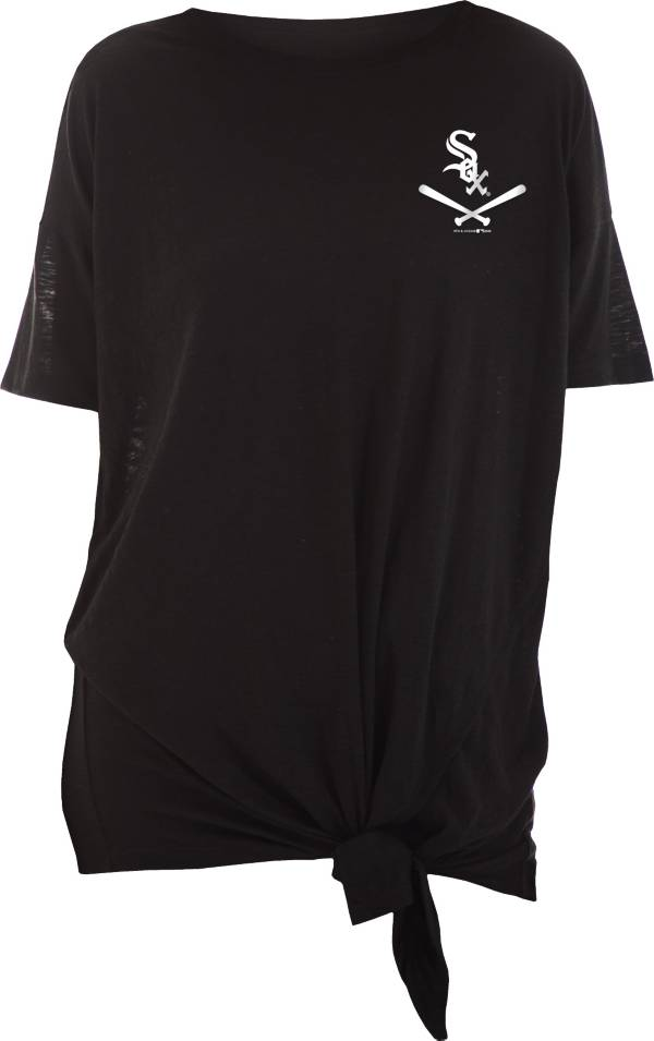 New Era Women's Chicago White Sox Black Slub Side Tie T-Shirt product image