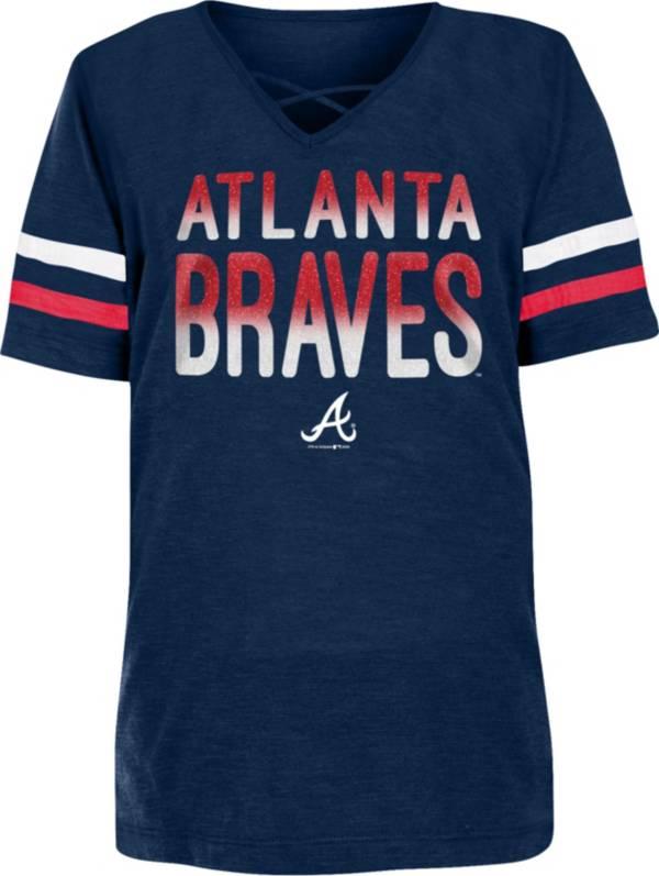 New Era Youth Girls' Atlanta Braves Navy Slub V-Neck T-Shirt product image