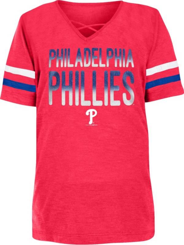 New Era Youth Girls' Philadelphia Phillies Red Slub V-Neck T-Shirt product image