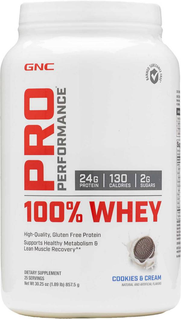 GNC Pro Performance 100% Whey Protein Cookies & Cream 25 Servings product image