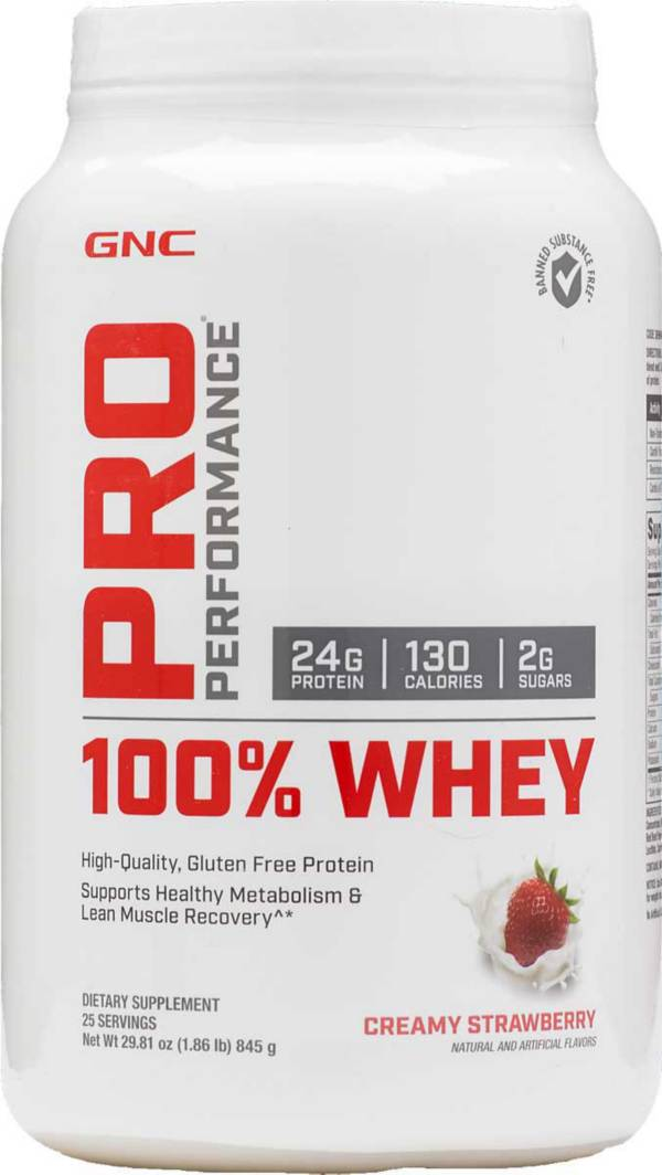GNC Pro Performance 100% Whey Protein Creamy Strawberry 25 Servings product image