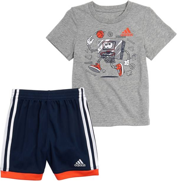 adidas Little Boys' Graphic Cotton T-Shirt and Mesh Shorts Set product image