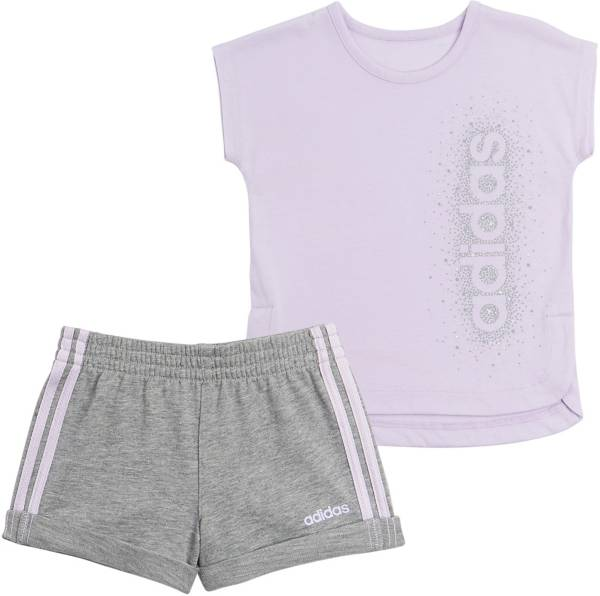 adidas Little Girls' French Terry T-Shirt and Shorts Set product image