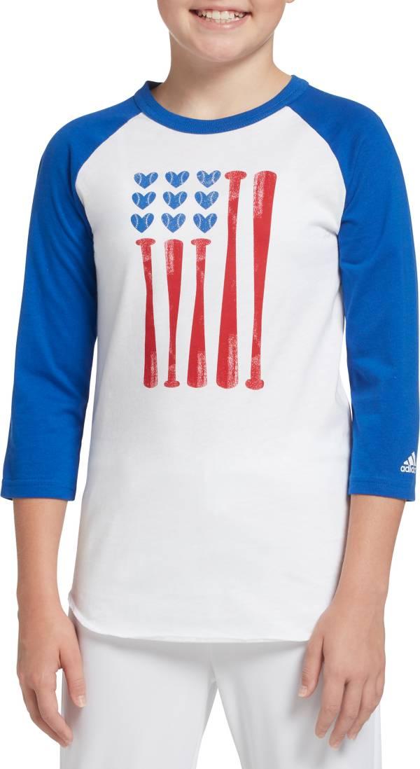 adidas Girls' Destiny ¾ Sleeve Softball Graphic T-Shirt product image