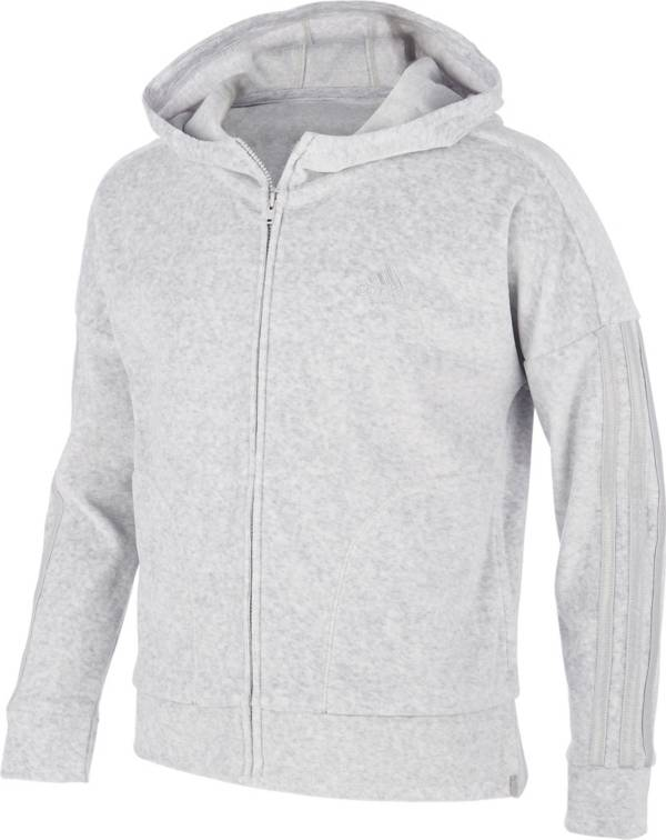 adidas Girls' Zip Front Heather Velour Hooded Jacket product image