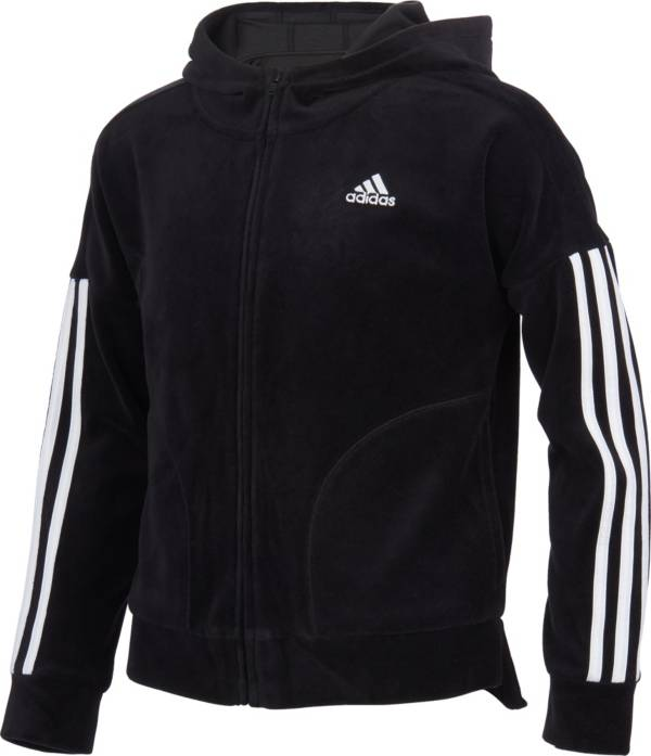 adidas Girls' Zip Front Velour Hooded Jacket product image