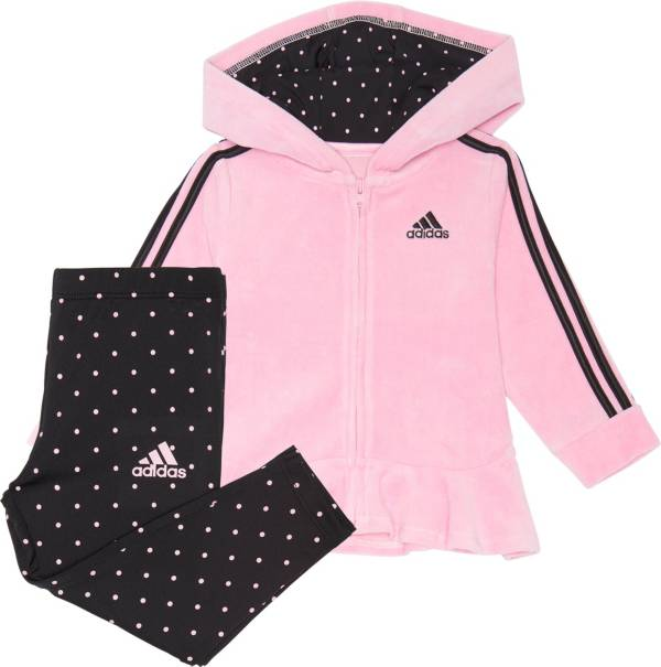 adidas Toddler Girls' Zip Front Velour Hooded Jacket and Printed Tights Set product image