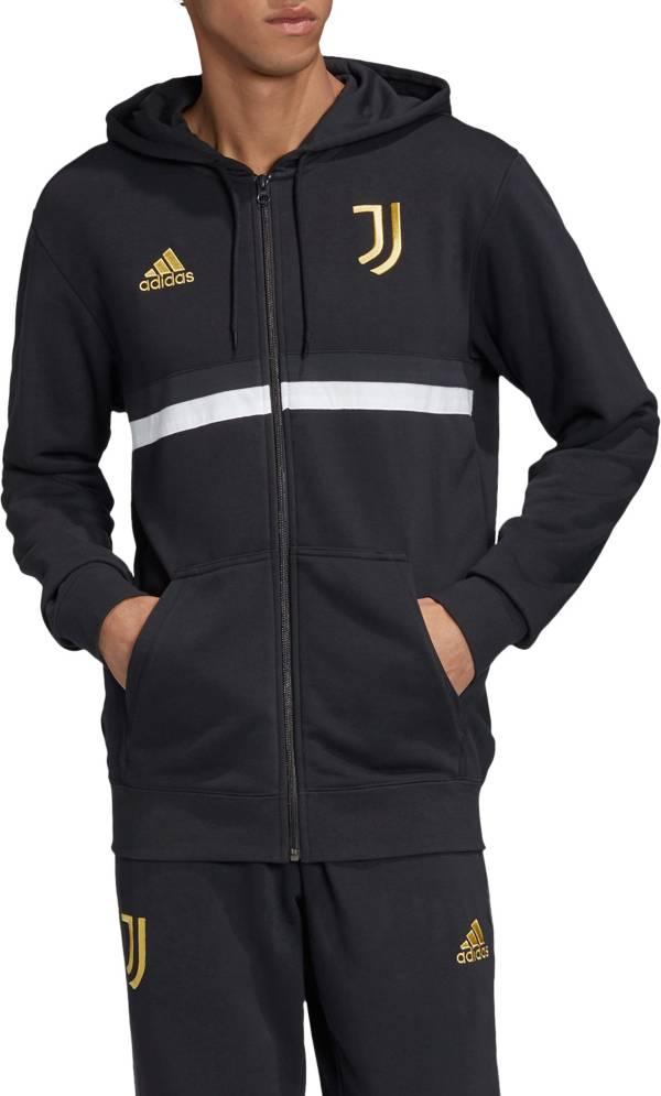 adidas Men's Juventus 3-Stripes Full-Zip Black Hoodie product image