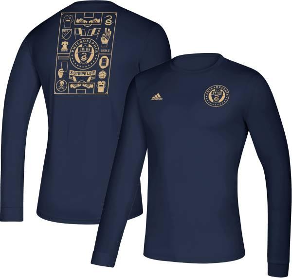 adidas Men's Philadelphia Union Iconic Navy Long Sleeve Shirt product image