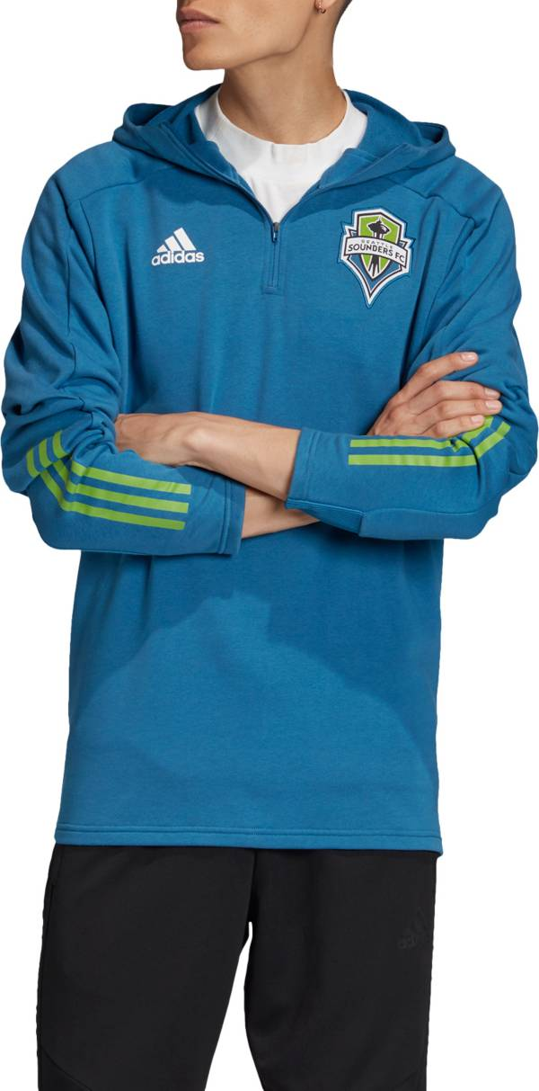 adidas Men's Seattle Sounders Travel Teal Quarter-Zip Pullover Shirt product image