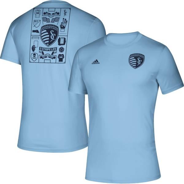 adidas Men's Sporting Kansas City Iconic Blue T-Shirt product image