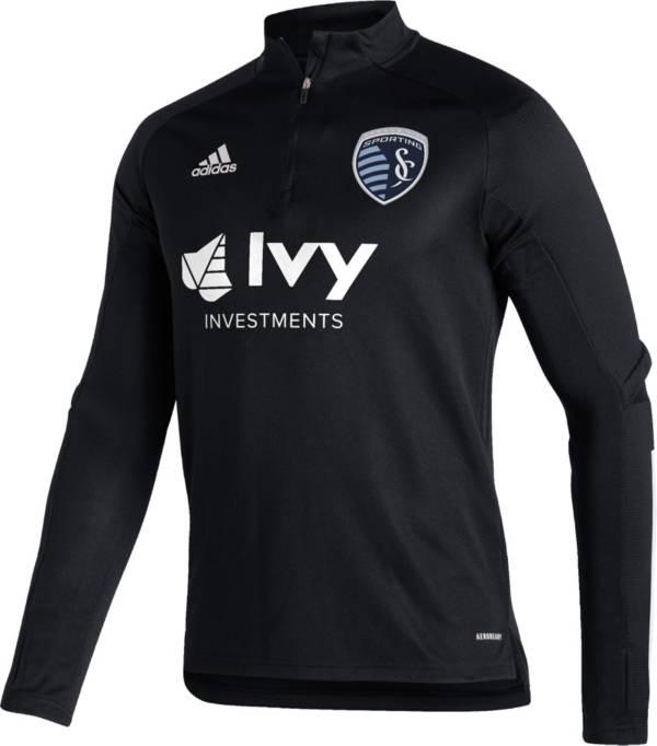 adidas Men's Sporting Kansas City Gray Training Quarter-Zip Pullover Shirt product image
