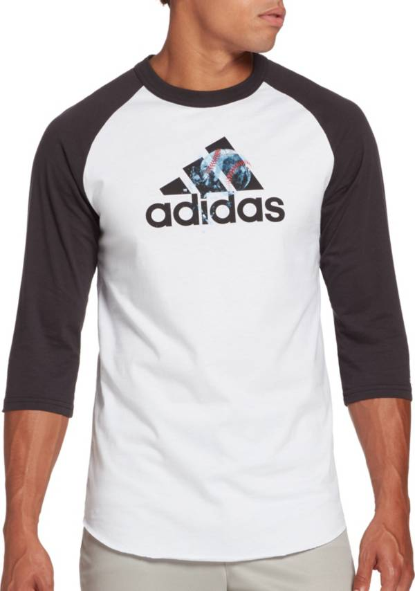 adidas Men's Triple Stripe Graphic ¾ Sleeve Baseball Shirt product image