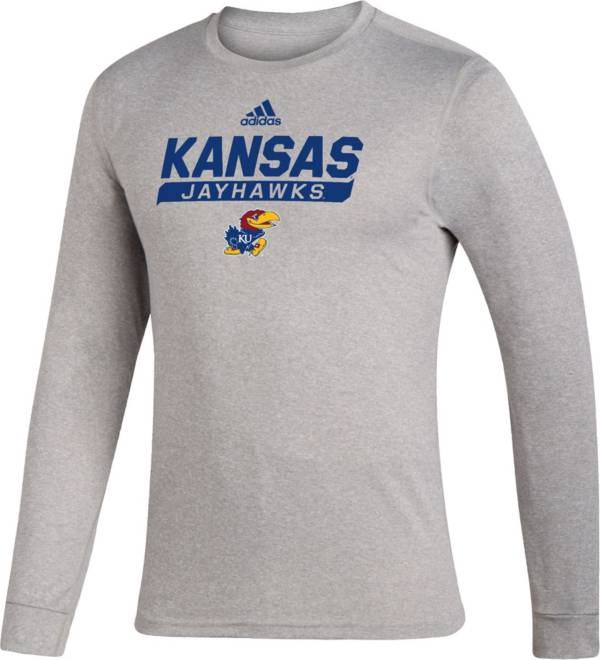 adidas Men's Kansas Jayhawks Grey Creator Performance Long Sleeve T-Shirt product image