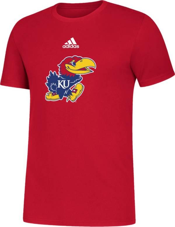 adidas Men's Kansas Jayhawks Crimson Big Logo Amplifier T-Shirt product image