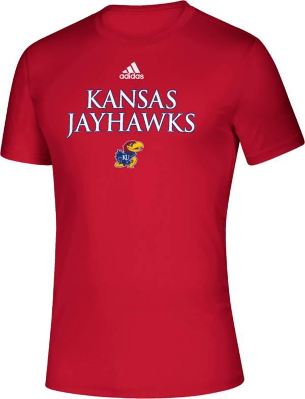 adidas Men's Kansas Jayhawks Crimson Locker Room Word Performance T-Shirt product image