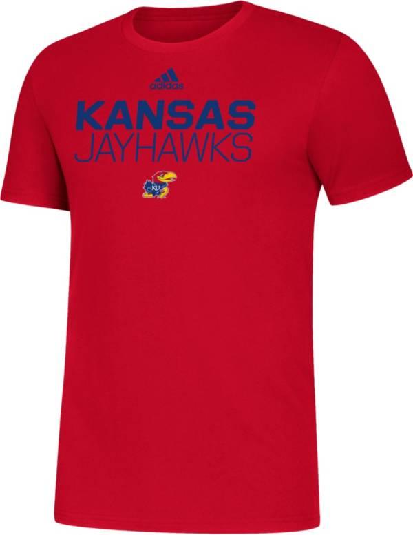 adidas Men's Kansas Jayhawks Red Sideline Locker Stacked T-Shirt product image