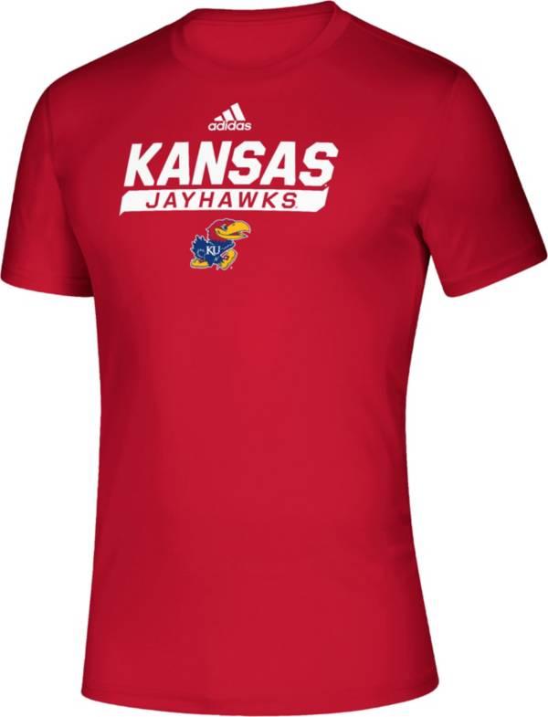 adidas Men's Kansas Jayhawks Crimson Tail Sweep Performance T-Shirt product image