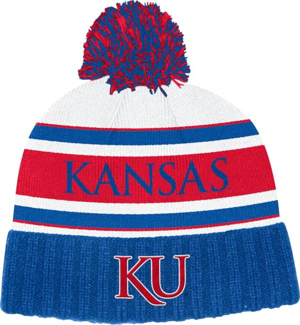 adidas Men's Kansas Jayhawks Blue Cuffed Pom Knit Beanie product image