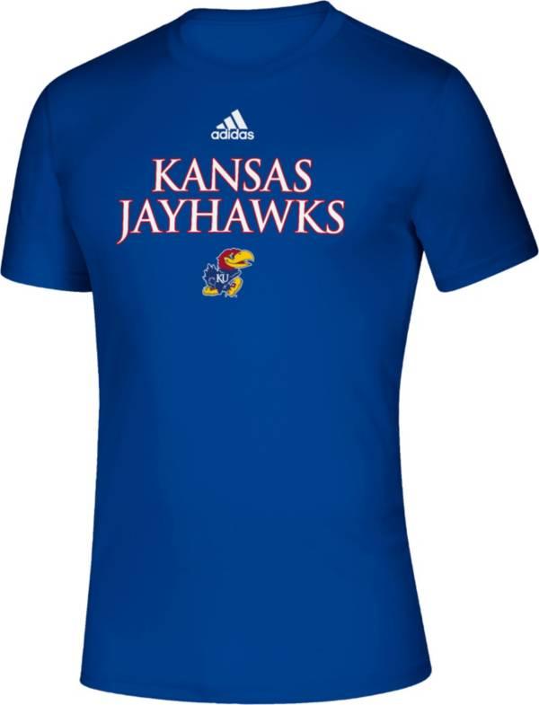 adidas Men's Kansas Jayhawks Blue Locker Room Word Performance T-Shirt product image
