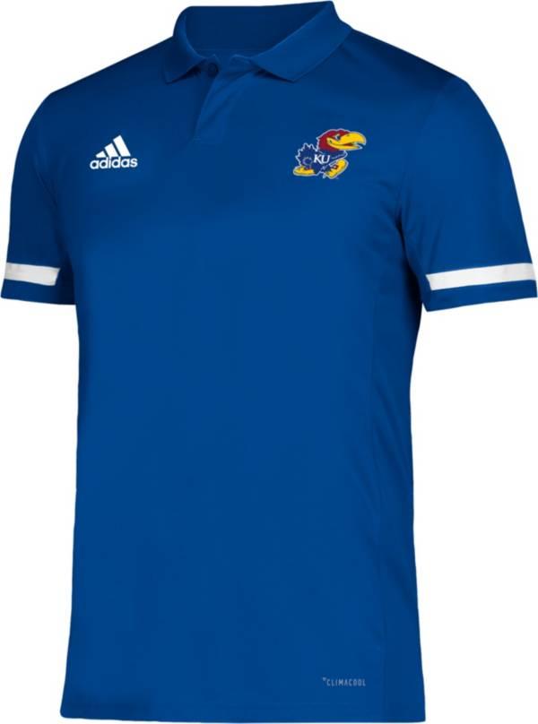 adidas Men's Kansas Jayhawks Blue Team 19 Sideline Football Polo product image