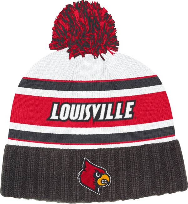 adidas Men's Louisville Cardinals Cuffed Pom Knit Black Beanie product image