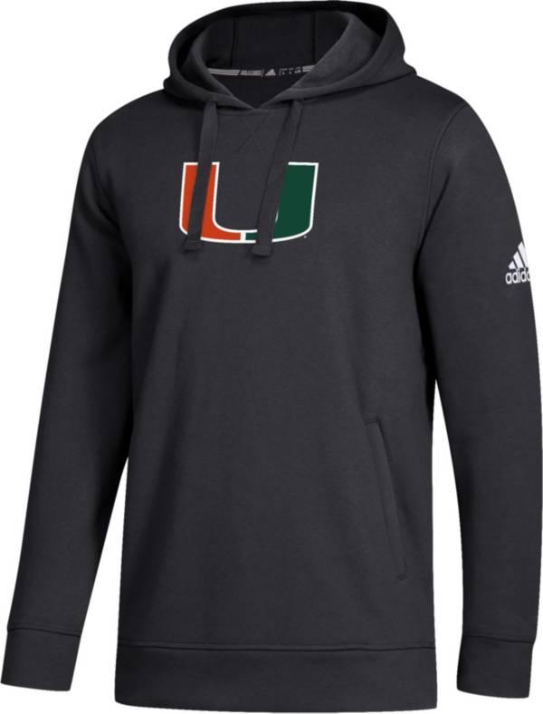 adidas Men's Miami Hurricanes Logo Fleece Pullover Black Hoodie product image