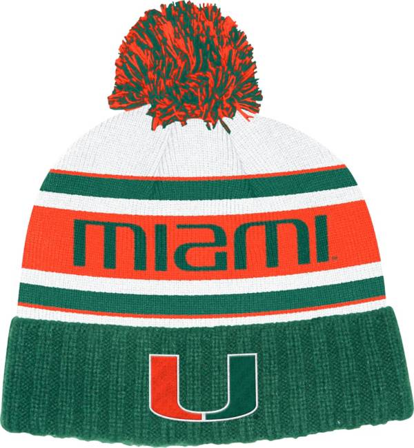 adidas Men's Miami Hurricanes Green Cuffed Pom Knit Beanie product image