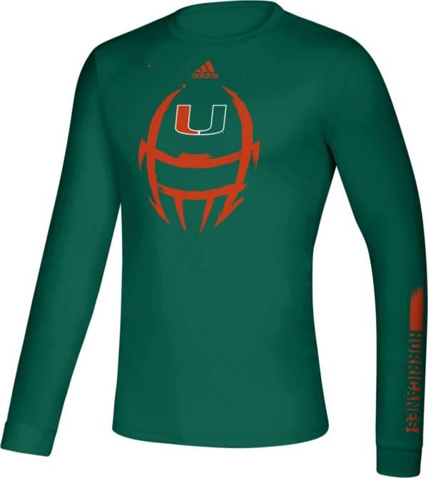adidas Men's Miami Hurricanes Green Locker Football Long Sleeve T-Shirt product image