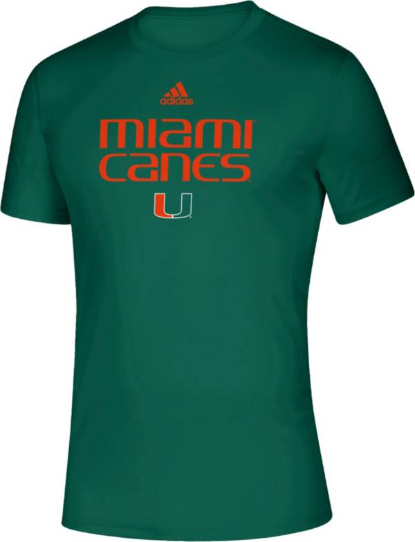 adidas Men's Miami Hurricanes Green Locker Room Word Performance T-Shirt product image