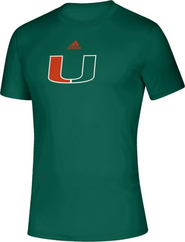 adidas Men's Miami Hurricanes Green Locker Room Logo Creator T-Shirt product image