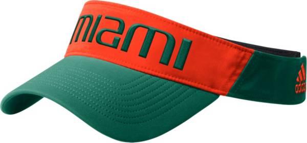 adidas Men's Miami Hurricanes Green Coach Thin Adjustable Visor product image