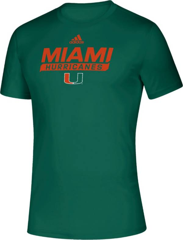 adidas Men's Miami Hurricanes Green Tail Sweep Performance T-Shirt product image