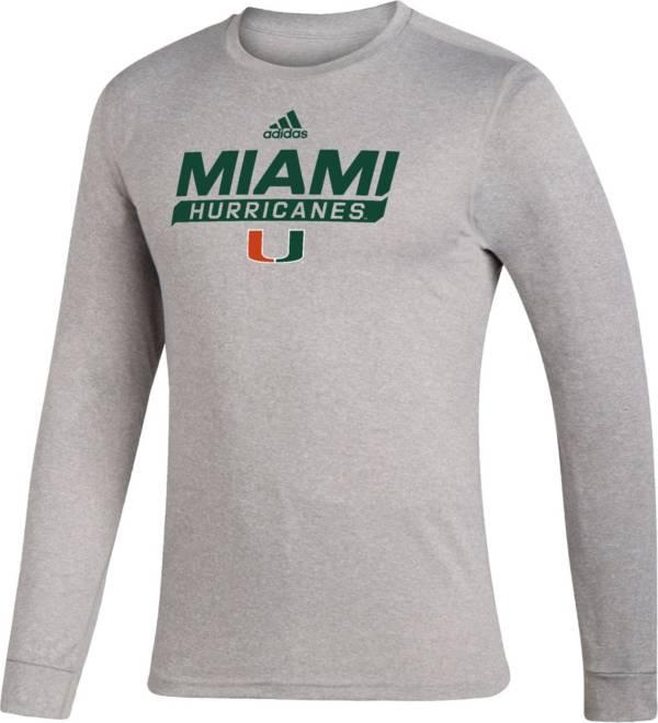adidas Men's Miami Hurricanes Grey Creator Performance Long Sleeve T-Shirt product image