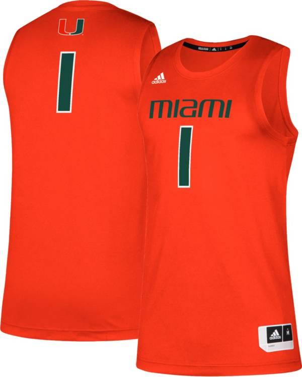 adidas Men's Miami Hurricanes #1 Orange Creator 365 Replica Basketball Jersey product image