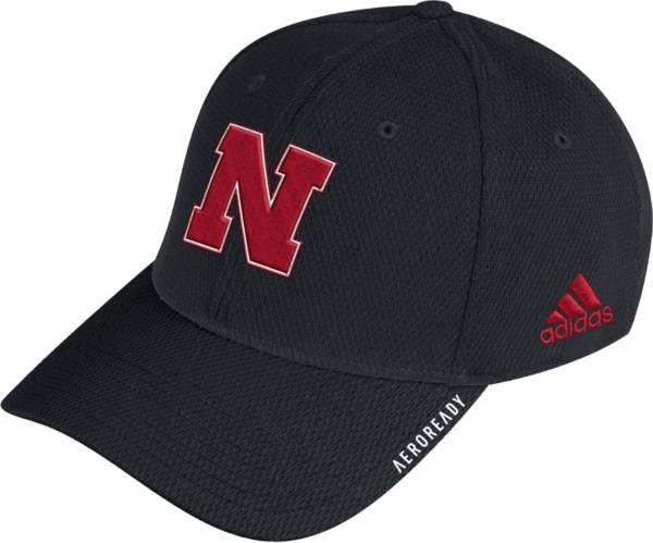 adidas Men's Nebraska Cornhuskers Coach Stretch Flex Fitted Black Hat product image