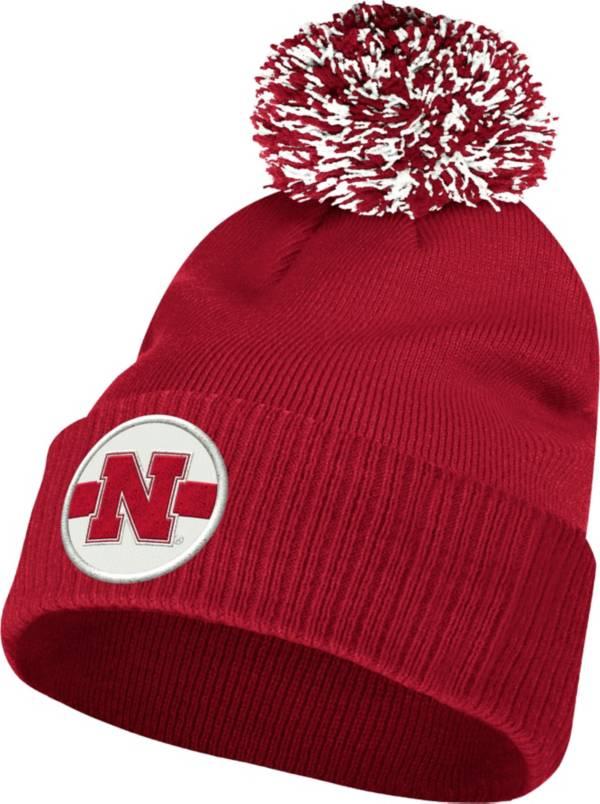 adidas Men's Nebraska Cornhuskers Scarlet Cuffed Pom Knit Beanie product image