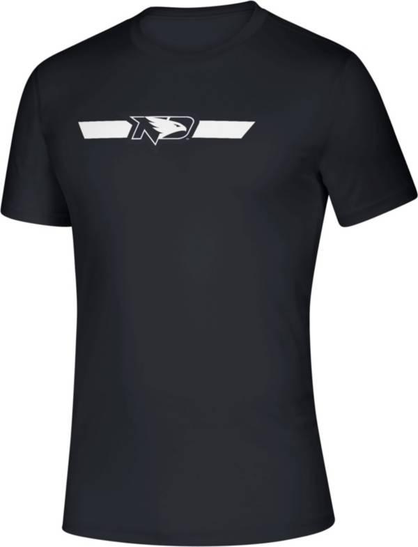 adidas Men's North Dakota Fighting Hawks Locker Stripe Sideline Black T-Shirt product image