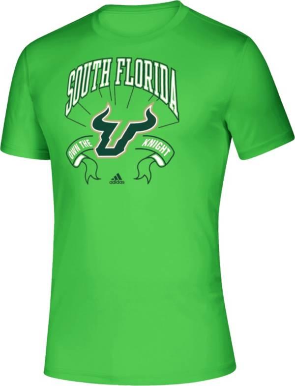 adidas Men's South Florida Bulls 'Slime Green' Performance Football T-Shirt product image