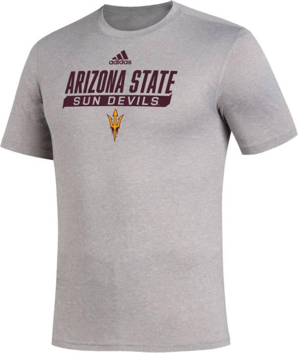 adidas Men's Arizona State Sun Devils Grey Tail Sweep Performance T-Shirt product image