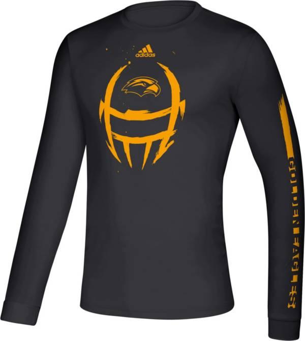 adidas Men's Southern Miss Golden Eagles Locker Football Long Sleeve Black T-Shirt product image