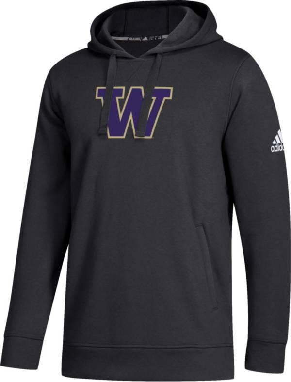 adidas Men's Washington Huskies Logo Fleece Pullover Black Hoodie product image