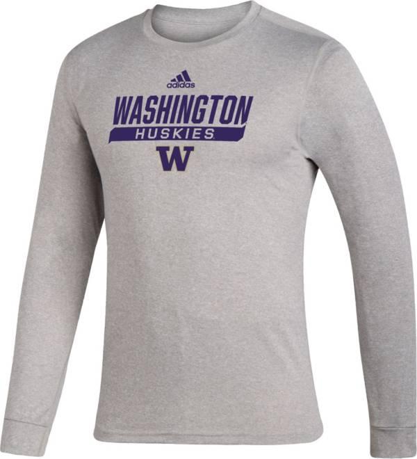 adidas Men's Washington Huskies Grey Creator Performance Long Sleeve T-Shirt product image
