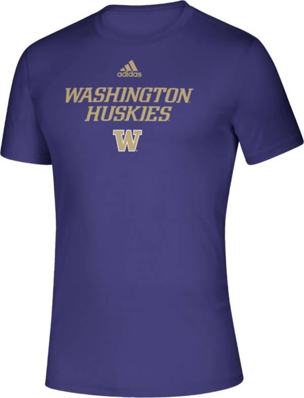 adidas Men's Washington Huskies Purple Locker Room Word Performance T-Shirt product image