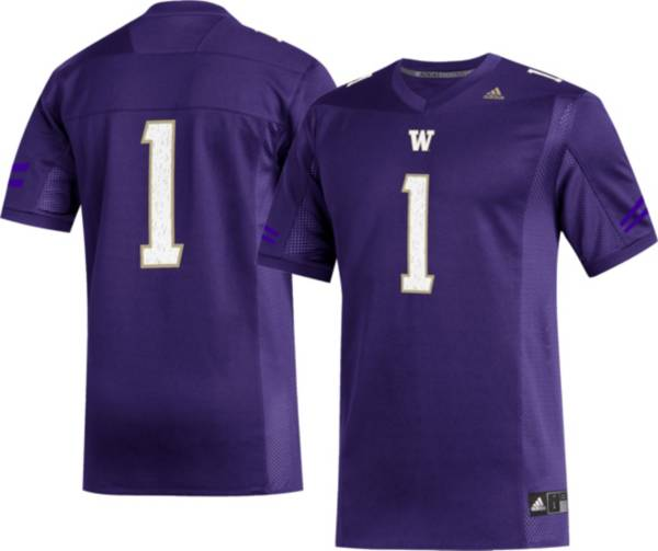 adidas Men's Washington Huskies #1 Purple Replica Football Jersey product image