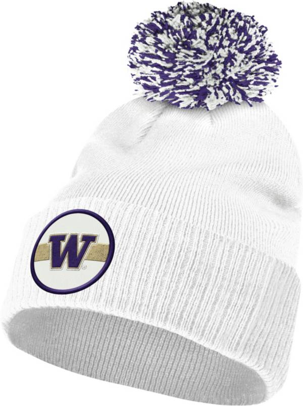 adidas Men's Washington Huskies Purple Cuffed Pom Knit Beanie product image